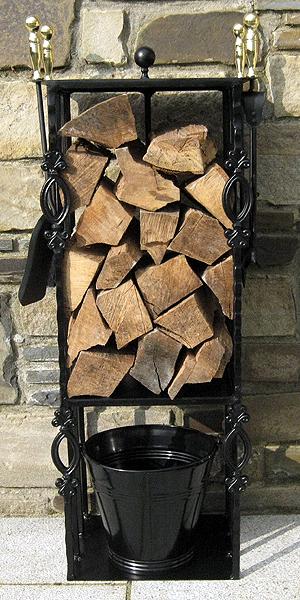 Victorian-Black-Log-Holder-Double-Companion-set